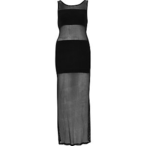 Black fishnet panel maxi dress