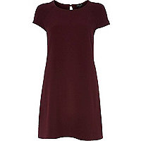 Dark red short sleeve swing dress