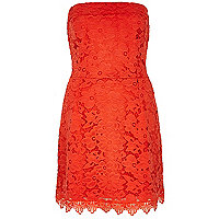 Orange jersey lace bandeau dress