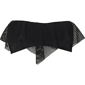 Black mesh overlay bandeau bikini top