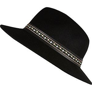 Black floral trim fedora hat