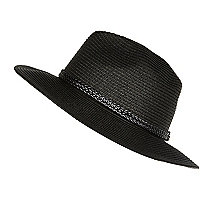 Black straw plaited trim fedora hat