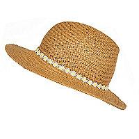 Beige straw daisy trim fedora hat