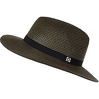 Dark green straw fedora hat
