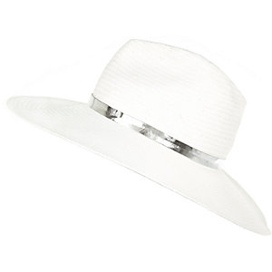 White metallic trim fedora hat