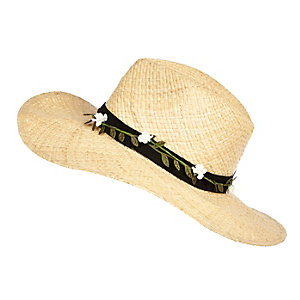 Cream straw floral trim fedora hat