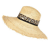 Cream frayed edge leopard print fedora hat