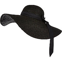 Black oversized floppy hat
