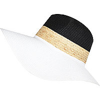White block colour straw fedora hat