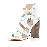 White leather strappy block heel sandals