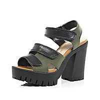 Khaki chunky Velcro strappy sandals