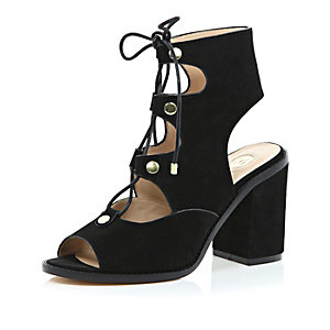 Black suede lace up block heel sandals