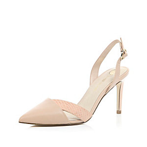 Light pink sling back court shoes