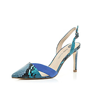 Blue snake print sling back court shoes