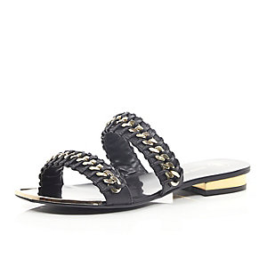 Black chain weave sandals