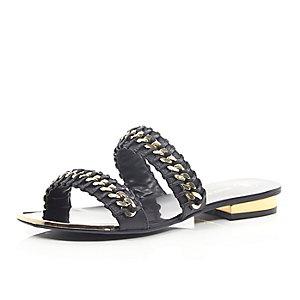 Black chain weave sandals