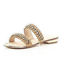 Brown chain weave sandals