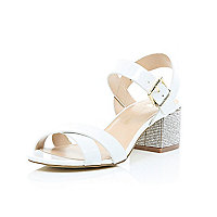 White leather diamante block heel sandals