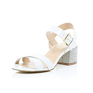 White diamante block heel sandals