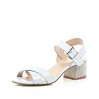 Blue diamante block heel sandals