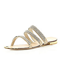Nude leather diamante embellished sandals