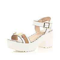 White chunky cleated sole sandals