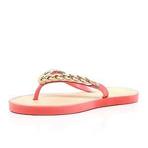 Coral chain flip flops