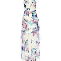 White print bodycon cape maxi dress