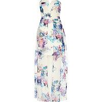 White print bodycon cape maxi dress
