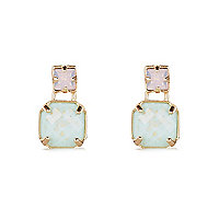 Gold tone pastel stone dangle earrings