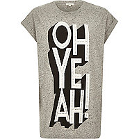 Grey marl oh yeah print oversized t-shirt