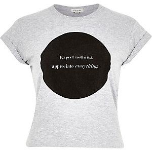 Grey circle slogan print crop top