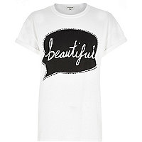 White beautiful speech bubble print t-shirt