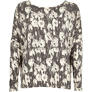 Grey print soft jersey scoop back top