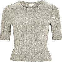 Light grey ribbed fitted cropped t-shirt