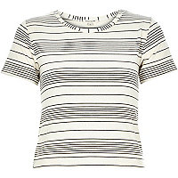 Cream stripe lightweight fitted t-shirt