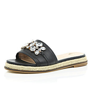 Black leather embellished sandals
