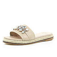 Light brown leather embellished sandals
