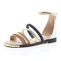 Tan snake print strap gladiator sandals