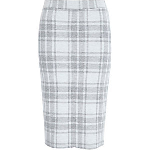 Cream check jersey pull on pencil skirt
