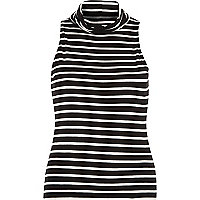 Black sleeveless stripe turtle neck vest