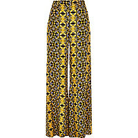 Yellow floral print palazzo trousers