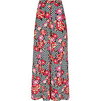 Pink floral print palazzo trousers