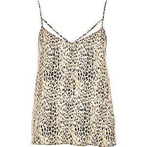 Brown animal print strappy cami