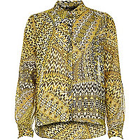 Yellow animal print sheer shirt