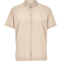 Beige lightweight short sleeve shirt