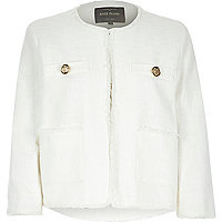 Cream boxy boucle jacket