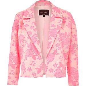 Fluro pink jacquard cropped jacket