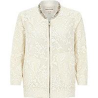 White floral embellished collar bomber jacket