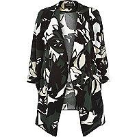 Khaki crepe floral print draped jacket